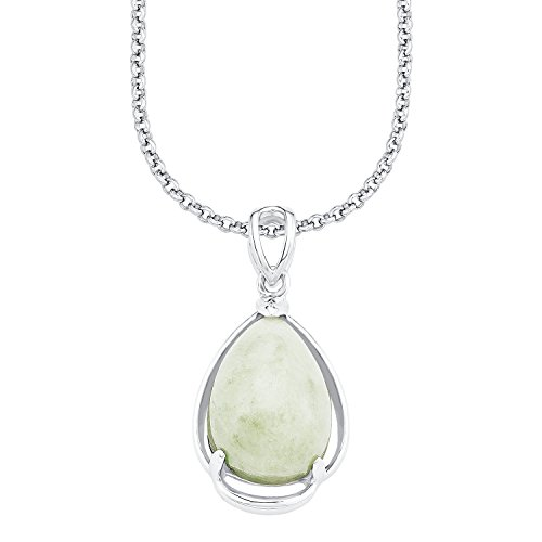 s.Oliver Damen-Kette mit Anhänger 925 Silber rhodiniert Jade grün 45 cm - 526180
