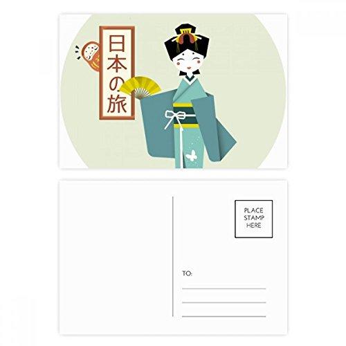 DIYthinker Gracias tarjeta tradicional japonesa antigua postal de la muchacha de cumpleaños Conjunto de correo lateral 20Pcs 5,7 pulgadas x 3,8 pulgadas Multicolor