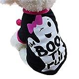 Fossrn Perro Ropa Disfraz Halloween Camiseta para Pequeño Chihuahua Yorkshire Mascota Cachorros (XS, boo ti ful)