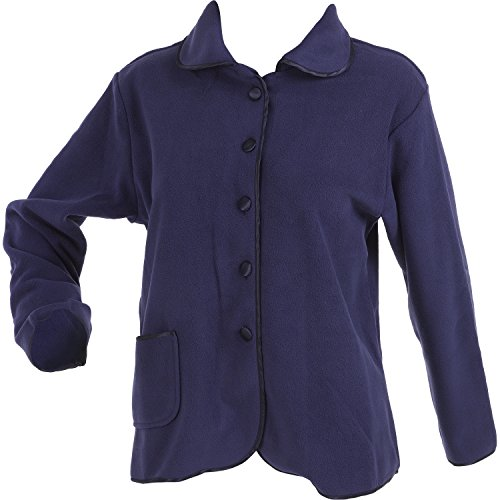 41svWkOE9nL. SS500  - Slenderella Ladies Anti-Pill Polar Fleece Button Up Long Sleeved Bed Jacket (Purple or Raspberry)