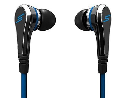 Écouteurs Intra-auriculaires Basse Stéréo pour Apple iPhone, Android Smartphones, Tablettes | Noir & Bleu