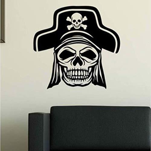 l Piraten Haar Kopf Hut Abnehmbare Pvc Persönlichkeit Wandaufkleber Wandaufkleber Für Wohnzimmer Vinyl Aufkleber Für Tür Home Art Decor Poster 57X57 Cm ()