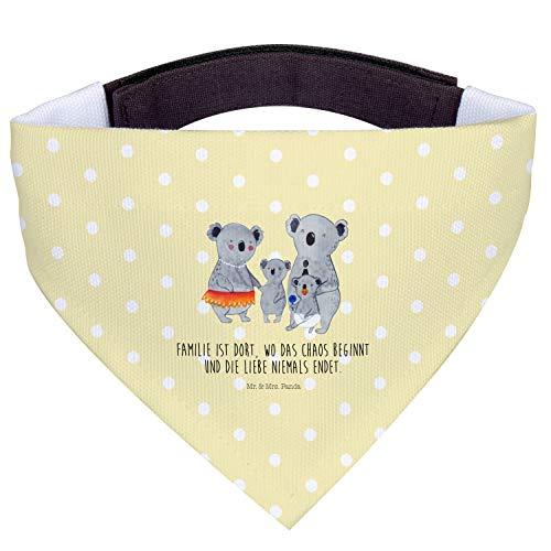 Mr. & Mrs. Panda Tuch, kleine Hunde, Hundehalstuch S Koala Familie mit Spruch - Farbe Gelb Pastell