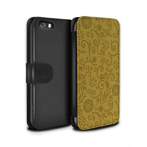 Stuff4 Coque/Etui/Housse Cuir PU Case/Cover pour Apple iPhone SE / Fleur bleue Design / Motif Remous floral Collection Fleur jaune