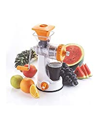 Sell on Big Fruit & Vegetable Premium Manual Hand Juicer Mixer Grinder With Steel Handle & Waste Collector Quality Fruit And Vegetable Juicer With Handle / All In One /All Purpose ,Fastest, Safest And Easiest Way To Extract Vegetables/ Fruit Juices / Kitchen Tool / Kitchen Accessories / Utensils / Kitchen Gadgets, Orange Attachments area