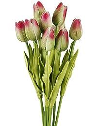 TININNA 10 Pcs Artificiales de Tulipán de la Flor Artificial para la decoración casera sin jarrón y Cesta del Hydrangea para…