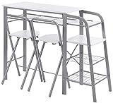 ts-ideen Theke - Juego de Mesa y sillas (3 Piezas, Metal, Tablero DM), Color Blanco