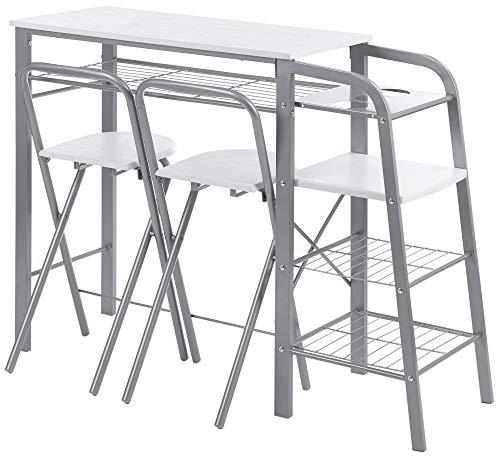 ts-ideen 3-teilige Essgruppe Frühstückstisch Stuhl Theke Tisch Bar Weiß Regal Metall + MDF - Weiß 3 Regal Bar