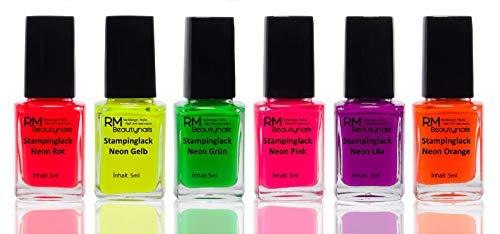 Stampinglack Neon Set Rot Gelb Grün Pink Lila Orange Stempellack Nagellack Nail Polish 6er Pack (6 x5ml)