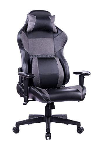 Wolmics Gaming Bürostuhl mit großer Lordosenstütze, Reclining Ergonomic Memory Foam Schreibtischstuhl, Racing Style PC Computer Chefsessel aus Leder mit Kopfstütze WS8260 Grau