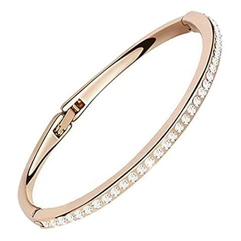 GWG® 18K Rotgold Veredeltes klein Ladies-Armband für Frauen mit Diamant-Klaren Runden Kristallen und Klassischem Charm