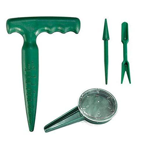spary confezione da 4 mini attrezzi da giardino manuali - semina semi, impugnatura a pistola, trapiantatore e widger