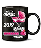 Golebros Geschenk für werdenden - Paten Onkel 2019 Loading 6229 Schwangerschaft Geburt Mädchen Babyparty Tasse Becher Kaffeetasse Geschirr Schwarz AD Pink