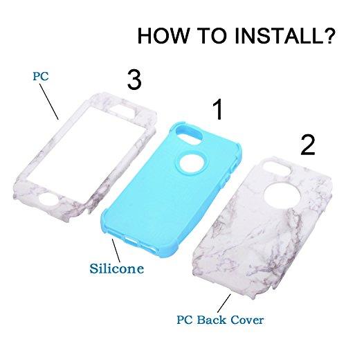 3 in 1 Housse Complète pour iPhone 5/ 5s/ se, Cuitan Motif Marbre PC + Silicone 360° Protection Complète Avant et Arrière Coque Antichoc Étui Complet Case Cover pour iPhone 5/ 5s/ se - Rouge Bleu