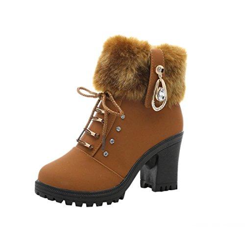 FEITONG Frauen Stiefel Damen High-Heel Stiefeletten Winter Wasserdicht Schuhe Anti-Slip Warm Winterstiefel (EU:38, Braun) (Leder High Stiefeletten Heel)