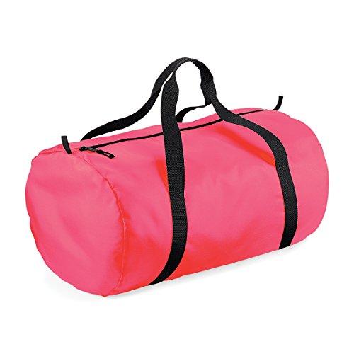 BagBase wasserdichte Tasche fur Reisen Packaway Barrel Tasche 50x30x26cm 32L Feiertags-Taschen Fluorescent Pink/ Black