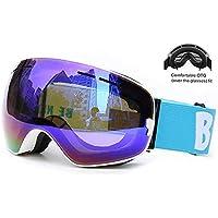bc6661d217 LIZI Gafas de esquí esquí Snowboard Windproof Gafas con OTG Sobre Gafas,  Doble Lente,