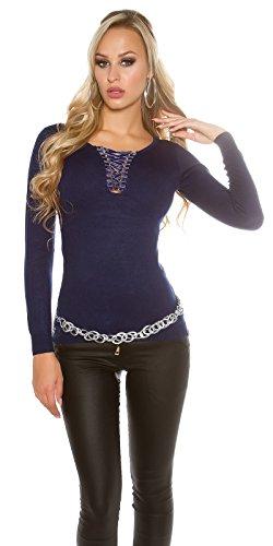 In-Stylefashion - Sweat-shirt - Femme bleu bleu foncé taille unique bleu foncé