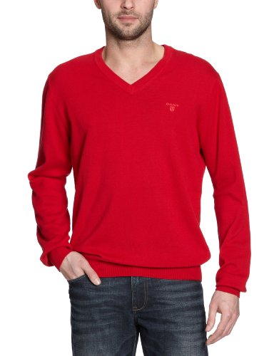 GANT Herren Pullover LT. WEIGHT COTTON V-NECK, Einfarbig Rot (CLASSIC RED)
