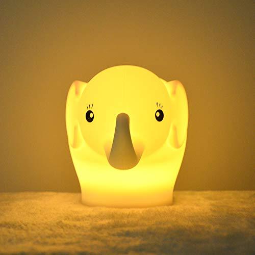 Luz nocturna para niños, Tianhaixing Lámpara LED linda de elefante de silicona Lámpara de cabecera - 9 colores que cambian / USB recargable / Control remoto / táctil Regulable Luz nocturna