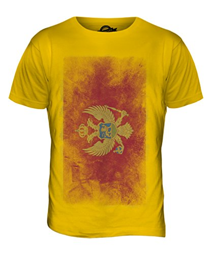CandyMix Montenegro Verblichen Flagge Herren T Shirt Dunkelgelb