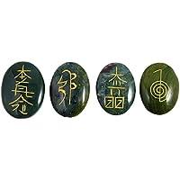 Harmonize Lotes de 4 Meditación Jade PC Africana Equilibrio curativo de Karuna Símbolo de Piedra