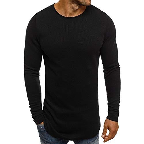 Xmiral Herren Pullover Sweatshirt Beiläufige Feste Lange Hülse dünn T-Shirt Bluse Bodenbildung Herbst und Winter(M,Schwarz)