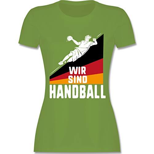 Handball WM 2019 - Wir sind Handball! Deutschland - S - Hellgrün - L191 - Damen Tshirt und Frauen T-Shirt