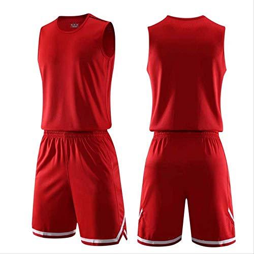 WRPN Maglie da Basket, Maglie da Basket Uomo, Camicie Sportive Set di Maglie da Basket Maglie comode Camicie + Short, Adatte a Studenti/Uomini/Giovani 2XL Rosso