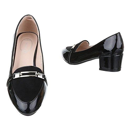 Ital-Design Komfort Pumps Damen Schuhe Geschlossen Blockabsatz Klassische Pumps Schwarz