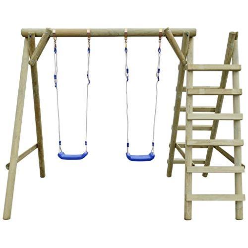 Mewmewcat altalena da giardino con scalette,altalena con scalette da giardino in legno di pino 268x154x210 cm per bambini