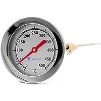 Edelstahl Träume 500 °C Grad Backofen Holzbackofen Ofen Grill Thermometer Analog und Bimetall Durchmesser 63 mm und 40 cm lang