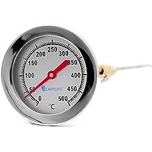 Edelstahl Träume - 500 ° c grado horno leña bimetálico y horno horno barbacoa termómetro analógico. diámetro de 62 mm y 30 cm de largo