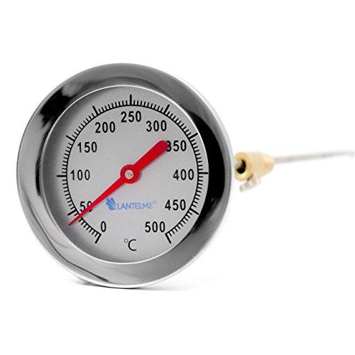 Edelstahl Träume 500 °C Grad Backofen Holzbackofen Ofen Grill Thermometer Analog und Bimetall Durchmesser 62 mm und 30 cm lang