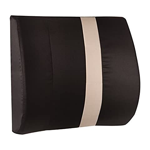 HealthSmart Vivi Relax-A-Bac Premium Lumbar Back Support Cushion Pillow with Insert and Strap, Black/Tan Stripe by HealthSmart