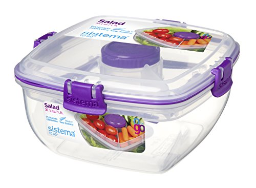 Sistema Klip It Salad To Go 1.1 Litre Container 21356,Clear with Coloured Clips, Assorted Colours, One Only Supplied