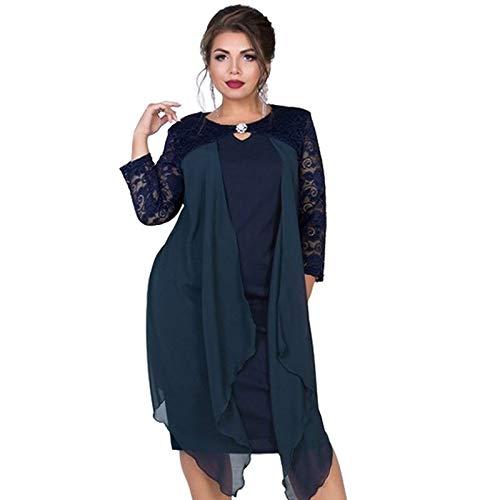 CEGFXCSW Kleid Sommerkleid Frauen 5XL Large Size Kleider Mantel Wrap Casual Lady Big Plus Size Party Elegante Kleider, Marineblau, 4XL