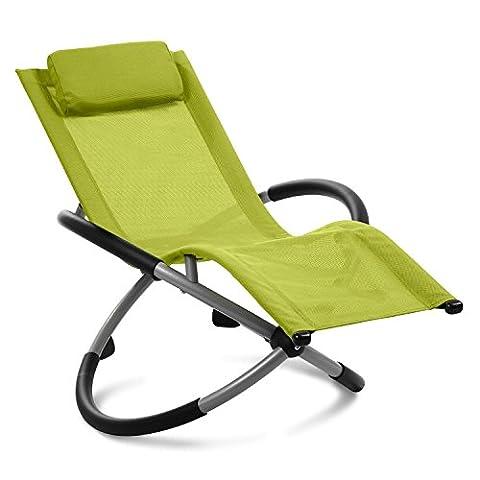Blumfeldt Chilly Willy - Chaise longue pour enfant, transat fauteuil avec accoudoirs et effet bascule (construction acier stable, coussin repose-tête inclus, revêtement lavable) - vert