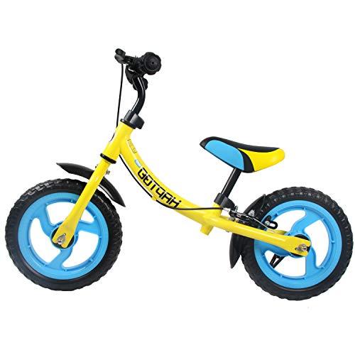 HAPTOO Laufrad mit Bremse Seitenständer, viele Laufräder für Jungen Mädchen Lenker-und Sattelhöhenverstellbar 12 Zoll