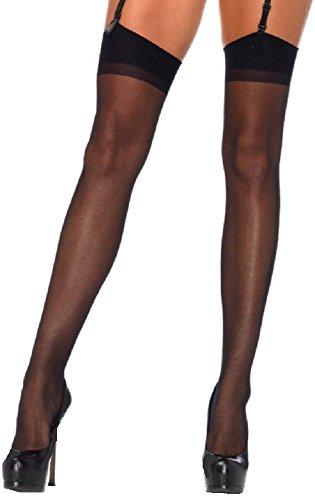 *Leg Avenue Damen Straps Strümpfe mit Naht hinten in schwarz transparent Einheitsgröße ca. 36 bis 40*