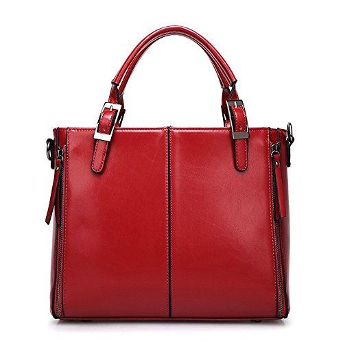MeiliYH Borse a Mano in PU Pelle Fashion Borsa Shopping Borsa a Tracolla Grande Capacità Multifunzione Elegante Alta Qualità per Donna (Rosso) Rosso