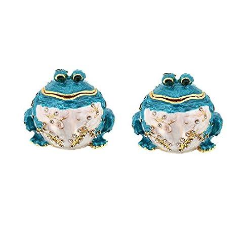 Micg Lot de 2faite à la main Bleu Fat Frog Animal figurine Collection Boîte à bijoux Mariage Bague support Table de cadeau de Noël pour fille