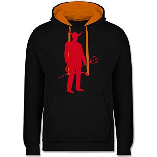 Pet Teufel Kostüm - Halloween - Teufel - M - Schwarz/Orange - JH003 - Kontrast Hoodie