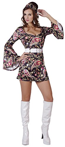 Ladies Sexy Disco Dress 1970s 70s Black Floral Hen Do Fancy Dress Costume Outfit 10-12-14 (UK ()