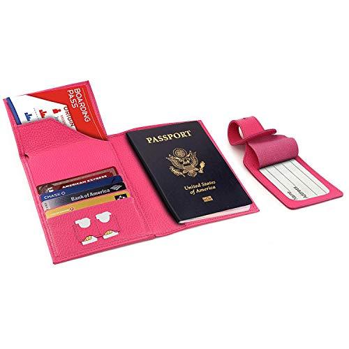 Otto Angelino Portafoglio Porta Passaporto in Vera Pelle - Anti RFID con Porta Carte e Targhette Bagagli (Rosa)