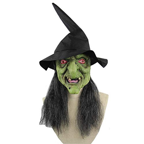 Halloween Latex Maske Grünes Gesicht Hexe Mit Unordentlichem Haar und Zauberer Hut 3D Deluxe Neuheit Kostüm Partei Rollenspiele Spielzeug, Eine Größe