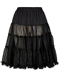 Damen Petticoat in Schwarz und Weiß (Gr. XS-XXL) Trachten Unterrock Vintage 60 cm