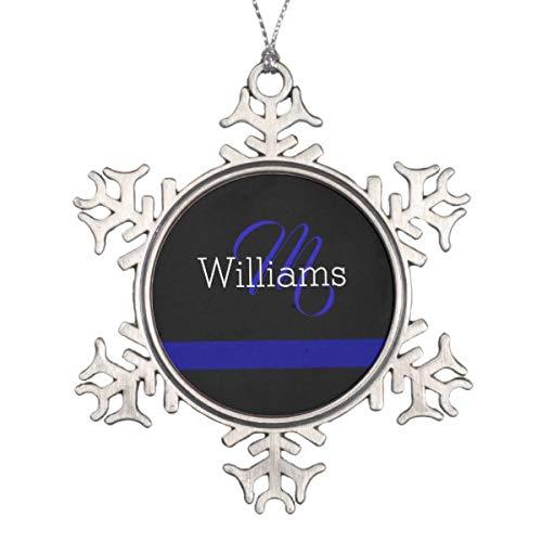 rsonalisiertes Ornament dünne Blaue Linie Custome Monogramm Weihnachten Ornament ()