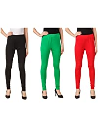 Svadhaa Black Green Red Cotton Lycra Leggings(Pack Of 3)