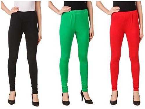 Svadhaa Black Green Red Cotton Lycra Leggings(Pack Of 3)
